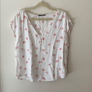 White shirt sleeve blouse with pink floral print